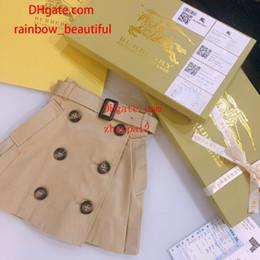2019 bodys algodão orgânico 2019 vestidos da menina do verão crianças roupas meninas outono estilo Britânico double-breasted saia plissada com cinto de qualidade superior do bebê roupas menina AB-1