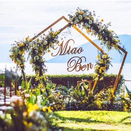 Decorações europeias do casamento on-line-Prateleira de ferro forjado europeu Casamento Ao Ar Livre Mori Geométrica Decoração Fundo Adereços Arcos Poligonais
