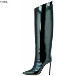 2019 belle scarpe da donna Yifsion nuove donne inverno ginocchio alto lucido stivali tacco a spillo stivali Nizza scarpe a punta splendida night club scarpe donna formato degli stati uniti 5-15 belle scarpe da donna economici