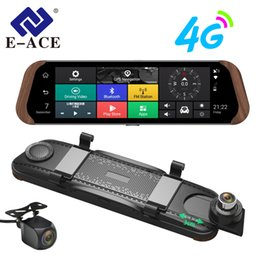 зеркало заднего вида Скидка E-ACE Car Dvr Stream RearView Mirror Camera 4G Android FHD 1080P 10 Inch Dual Lens ADAS Video Recorder Auto Registrar Dashcam