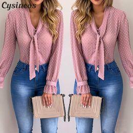 2019 mangas largas peplum top de crochet Blusas de las mujeres de moda de manga larga con cuello en V camisa rosada de la gasa de la blusa Oficina tapas delgadas ocasional más el tamaño S-5XL