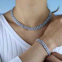 2019 conjuntos de jóias de pérolas de platina Azul Branco cúbicos zircônia cz hip hop bling do Prong cubano cadeia de ligação conjunto de colar pulseira congelado para fora conjunto de jóias