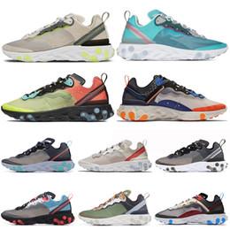Castanho claro preto on-line-Royal Tint Reagir Elemento 87 Running Shoes para Homens Mulheres Branco Preto Luz Orewood Mens Marrom Designer Tênis Esportivos 36-45