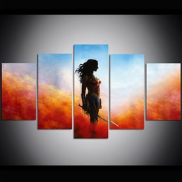 women room paintings Promo Codes - 5 Piece Large Size Canvas Wall Art Wonder Woman Oil Painting Wall Art Print Pictures for Living Room Paintings Wall Decor