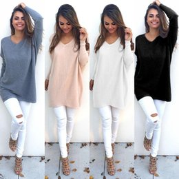 Novos tops para senhoras on-line-Autumn solta Tops New Womens Ladies V-Neck blusas quentes Casual Sweater Jumper Tops Outwear
