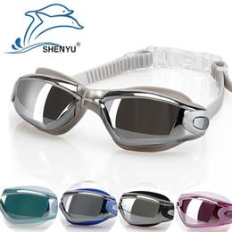 2019 occhiali blu rossi adulti Uomo donna unisex adulto anti nebbia, occhiali da nuoto impermeabili occhiali da nuoto, 5 colori, nero.blu, rosso, argento, azzurro occhiali blu rossi adulti economici
