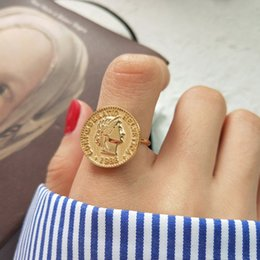 Pièces d'argent sterling en Ligne-rétro nouvelle authentique chiffre S925 Sterling Silver Fine Jewelry figure anneaux pièce de monnaie en or personnalité dollar avatar Coin ajuster J351