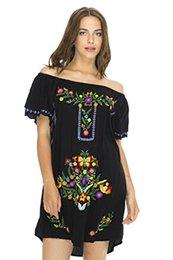 Detrás de Bali, vestido corto para mujer, con bordado en el hombro, túnica estilo mexicano desde fabricantes