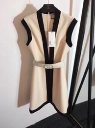 3b4ad3c19d26f Milan Runway Dress 2019 Black White Pink V Collar Sleeveless Women's Dress  With Sash High End Designer Vestidos De Festa 233