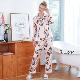 Damen Kunstseide Nachtwäsche Blumen 2Pcs Oberteile Shorts Pyjama Set