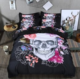 queen duvet set floral Promo Codes - 3D Flower Skull Bedding Set Pink Flower 3 pcs Polyester Black Duvet Cover 240x220 with Pillowcase Single King Queen Double