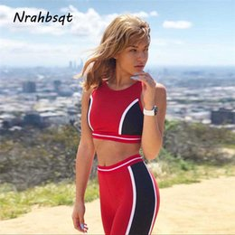 red yoga outfit Rabatt NRAHBSQT Red Stitching Yoga Sets Sport Anzug Jogging Femme Weste Hose Fitness Workout Set Kleidung Frauen Yoga Outfit YS066