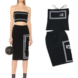 Canada Tube top string sur le genou longue jupe 2019 été nouvelle lettre tricot costume deux pièces haut de gamme de la mode pour femmes cheap new skirts knee high Offre