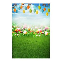 Argentina 5x7FT Campo de Flores de Tulipán Hierba Verde Huevos de Pascua Rama Fotografía Personalizada Telones de Fondo Fondo Banner Vinilo 220 cm x 150 cm cheap easter egg photos Suministro
