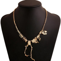 Jóia dos dinossauros on-line-Hot Sale Goth Liga Dinossauro Esqueleto Dead Tyrannosaurus T-Rex Charme Colar Gargantilha Colar Para Mulheres Colares de Jóias
