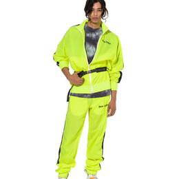 Traje de protección solar online-Streetwear Palm Angels Suit Hombres Mujeres Casual Negro Fluorescente Verde Mesh Palm Angels Conjuntos Protector Solar Al Aire Libre Palm Angels Suit