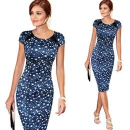 Vestidos de coctel estrellas online-Moda mujer vendaje Bodycon manga corta Sketch Print Dot Star cóctel hasta la rodilla vestido lápiz EE.UU.