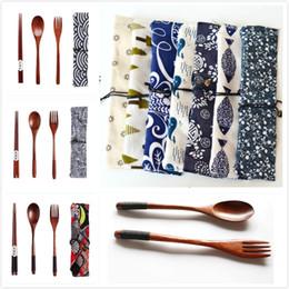 Conjuntos de dinnerware japonês on-line-Ambiente de madeira Dinnerware Set portátil de madeira garfo colher pauzinhos Faqueiro estilo japonês Louça saco de armazenamento talheres Para Camping
