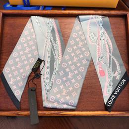 bufanda de pata de gallo blanco negro Rebajas 8 * 120 CM Marca Bolsa de Seda de Accesorios de Moda Carta de Las Mujeres Impresas Vendas Doble Capa de Cinta de Seda para la Madre