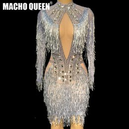 männlicher weiblicher bodysuit Rabatt Sexy Drag Queen Costumes Rhinestone Event Party Fringe Dresses Sparkling Tassel Performance Costumes Latin Dance Outfits