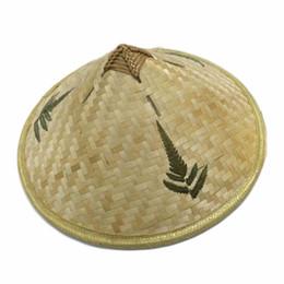 chapéus de palha artesanais Desconto Estilo chinês de Bambu Rattan Chapéus Retro Handmade Weave Palha Turismo Cap Chuva Adereços Cone Pesca Chapéu de Sombrinha Chapéu Do Pescador C19041001