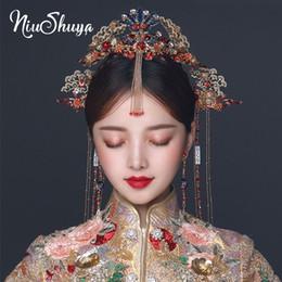 Pelo chino de la novia de la boda online-NiuShuya retro chino Phoenix pelo de la corona de novia tocado antigua de las horquillas de largo Oro borlas de boda de la novia Accesorios para el cabello