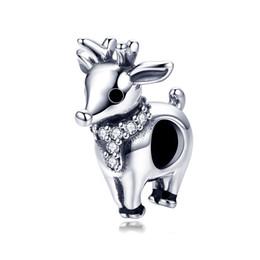 Commercio all'ingrosso dell'argento sterlina 925 animale Rhinestone di cristallo alci carino fascino tallone fai da te gioielli per le donne braccialetto da elfo di cristallo fornitori