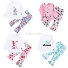 Pâques bébé filles lapin tenues enfants lapin haut + pantalon à volants imprimé floral 2pcs / set 2019 Printemps Automne boutique enfants vêtements ensembles C5946 ? partir de fabricateur
