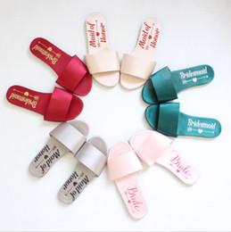 zapatos de mucama Rebajas Venta caliente de plata Borgoña zapatillas de dama de honor de la boda de novia de limpieza chanclas regalo de la ducha del partido de la dama de honor regalos de zapatos de honor de la novia baratos