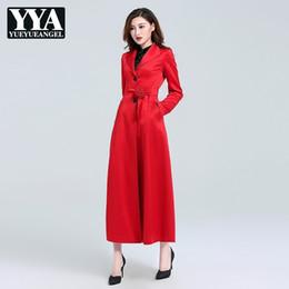 herbst mode weiblichen koreanischen kleidung Rabatt 2018 Designer Stil Herbst Rot Gürtel Lange Trenchcoats Dünne Feste Schärpen Frauen Windjacke Mantel Koreanische Mode Weibliche Kleidung