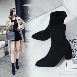 New autumn and winter boots, stretch boots, high-heeled boots, British style and velvet Martin boots.Girl zipper boot da