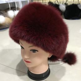 2019 chapéu feminino russo Novo Ao Ar Livre Russa Mulheres Real Fox Fur Hat Inverno Quente Grosso Genuine Fox Fur Cap Feminino 100% Natural Fox Fur Earflap Chapéus