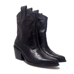 motorcycle style boots women Promo Codes - Designs Women Western Martin Boots Cowboy Genuine Leather Ankle Embroidery Pure black Winter shoes 2019 New Style