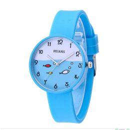 relógios de pulso de padrão Desconto Hot Moda Meninas Mulheres Relógios de Silicone Strap Ladies Relógio de Luxo Pequeno Padrão de Peixes Estudantes Relógio de Pulso Reloj Mujer