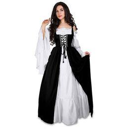 ropa renacentista Rebajas Ropa de verano Vestido de las mujeres Medieval Renacimiento Tobillo-Longitud vestido Corte traje Negro fiesta elegante de la vendimia vestidos