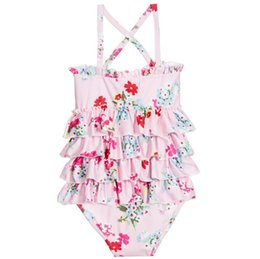 a3d88129ee20a Kids floral printed swimsuits girls tiered falbala cross bind suspender  princess swimming children SPA beach siames bathing suits F4784