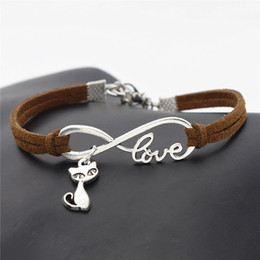 cute bracelet korean fashion Coupons - 2019 Best Price Korean Fashion Women Men Vintage Infinity Love Cute Cat Fox Animal Decoration Faux Dark Brown Leather Suede Bracelet Bangles