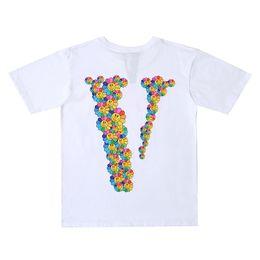 2019 das blumendruckhemd der männer Vlone Brand New Mens Designer T-Shirt Vlone Männer Frauen Hohe Qualität Blumen Drucken Schwarz Blau T-Shirt Hip Hop Tees Größe S-XL günstig das blumendruckhemd der männer