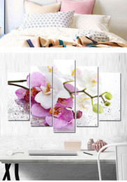 flowers posters canvas Coupons - 5 Pcs Combinations HD Red White Moth Orchid Flowers Pattern Unframed Canvas Painting Wall Decoration Printed Oil Painting poster