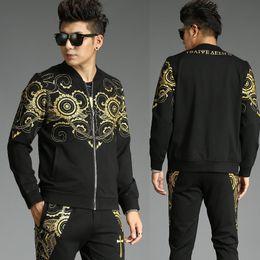59a52cb092568 2019 Autumn and Winter New Men's Suit High Quality Korean Fashion  Personality Trend Two-piece Men Sweat Suit Set Cotton Zipper inexpensive  korean autumn ...