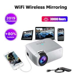 Mini espelho conduzido on-line-1pcs !!! projetor de cinema WiFi Mirroring Mini Projector Protable Phone Support HDMI 3,5 milímetros USB jack lâmpada LED Início projetor melhor presente por DHL
