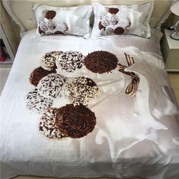 edredão de chocolate Desconto Doce de Chocolate Doce 3D Conjuntos de Cama Impresso Capa de Edredão Set 3 pçs / set Queen King Twin Size