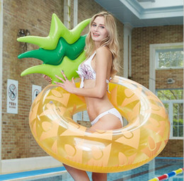 brinquedos divertidos para homens adultos Desconto Abacaxi inflável anel de natação flutua 120 cm grande adulto homens mulheres colchão de esportes de água flutuante air bed beach brinquedo para se divertir