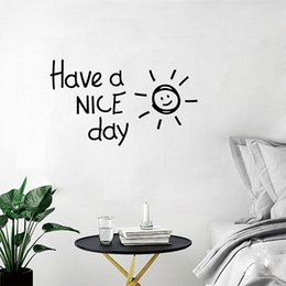 Детские украшения из золота онлайн-Creative Have A Nice Day Lovely sun  Wall Sticker Black&Gold Color Home Decorative Ornaments For Kids Room Bathroom