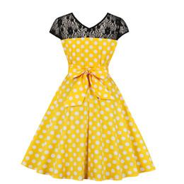 9756edde80f5d Retro Summer Women Dress Polka Dot Ladies Vintage Dress V Neck Lace  Sundress Rockabilly Party Female A-line Vestidos Slim Tight