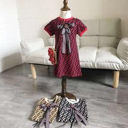 Meninas Vestidos De Grife 2019 New Luxury FF Vestido Estilo College Bow Tie Knit Sweater Dress Crianças Simples Bonito Carta Vestido Estampado 3 Estilos de