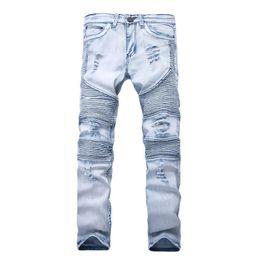 2019 jeans mens 33 Nuovi jeans da uomo firmati skinny con jeans elasticizzati slim moda bici jeans di lusso pantaloni da uomo foro strappato Jean per uomo taglie forti 28-38 sconti jeans mens 33