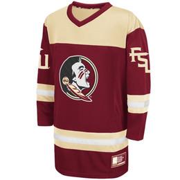 хоккейные майки персонализированные Скидка Персонализированный Колизей Гранат Штат Флорида Seminoles Хоккей Джерси Пользовательские Любое имя и любое число Вышитая вышивка