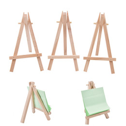 paintings artists Promo Codes - 7x12.5cm mini wooden tripod easel Small Wood Display Stand for Artist Painting Business Card Displaying Photos Painting Supplies Wood Crafts
