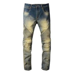 одежда для слабовидящих джинсов Скидка Balmain дизайнерские джинсы мужские рваные рваные узкие брюки роскошная одежда Slim Motorcycle Biker Hip Hop balmain Denim men